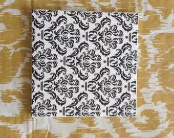 Black and white ceramic coasters