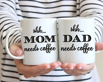 Coffee Mug Mom and Dad Coffee Mug Set - Shh Needs Coffee - Great for New Parents - Baby Shower Gift