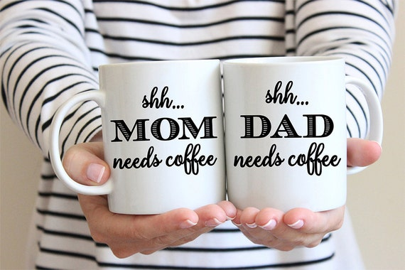 Coffee Mug Mom and Dad Coffee Mug Set - Shh Needs Coffee - Great for New Parents - Baby Shower Gift
