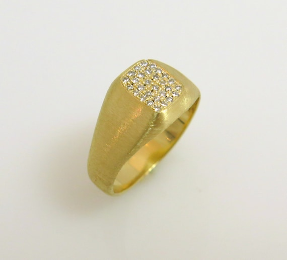 Pinky ring 14k gold Signet pinky ring Diamond by inbarfinejewelry