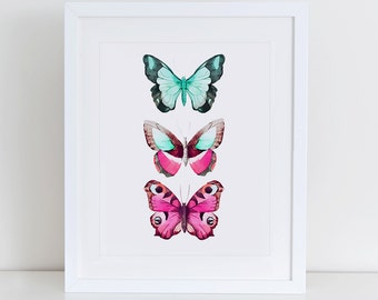 Butterflies Watercolor Art Print, Butterflies Printable, Instant Download,  Printable Home Decor, Digital Art Print, Butterflies Print