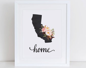 California Art Print, California Printable Art Print, Instant Download, California Wall Art, 8x10 Art Print, California Nursery Art Print