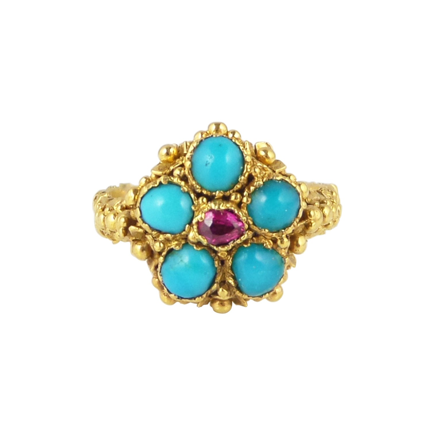 georgian ruby turquoise ring antique turquoise ruby ring in