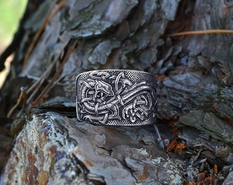 Celtic Dragons ring. Jörmungandr ring. Norse Viking Dragon.