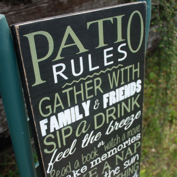 Patio Rules sign, patio decor, porch sign, deck sign, Wood decor, Hand Painted, Home Decor, Outdoor sign, summer sign, patio accent