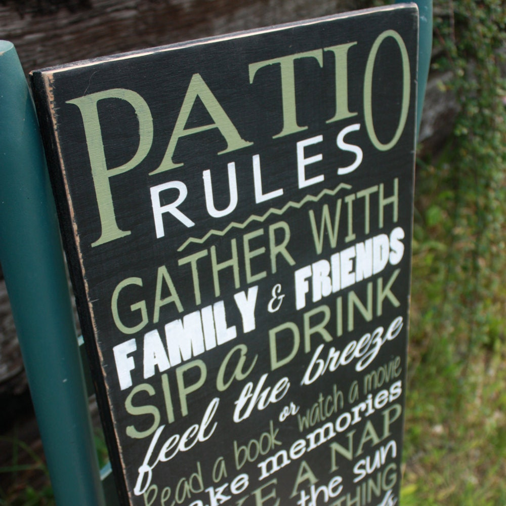 patio rules sign deck decor wooden sign hand painted home