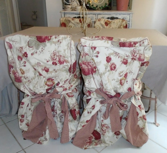 Vintage FRENCH COUNTRY WAVERLY Norfolk Rose Chair Slipcovers