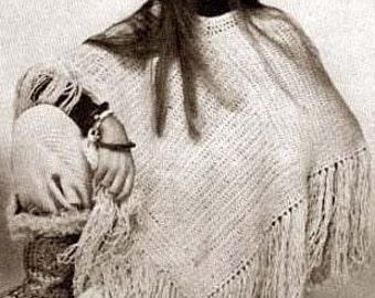 Crochet Poncho Pattern Hippie Boho PDF Instant Download