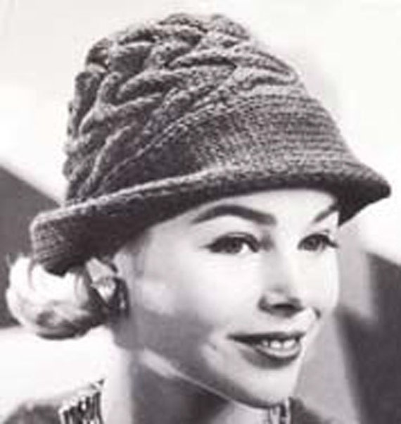Knitting Pattern Trilby Hat : Knit Swagger Hat Vintage Knitting Pattern Fedora Hat by Moongemini