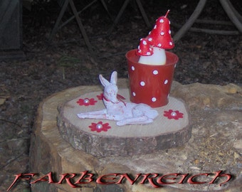 "Table decorations: ""fawn with fly agaric"""