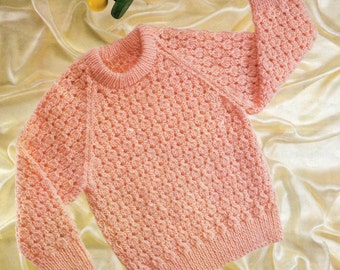 Girl's Sweater Knitting Pattern - to fit 18 to 22 inch chest - uses DK yarn