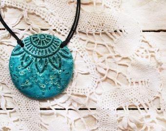 Turquoise ceramic necklace, circular ceramic pendant necklace, rustic surfaced ceramic pendant, bohemian necklace