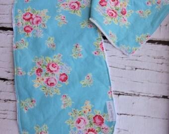 Shabby Chic Bib & Burp Cloth Set