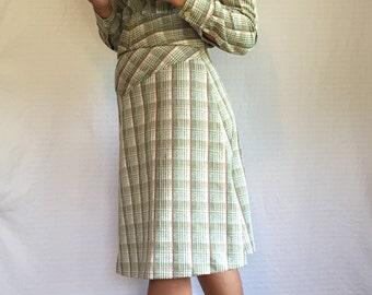 Vintage Plaid 70's Suit - Rockabilly Plaid Skirt & Jacket Size  - Vintage Office Wear - Retro Blazer and Skirt