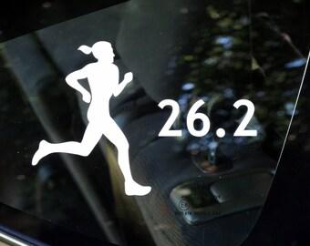 26.2, marathon female runner decal - car, laptop