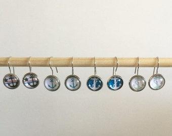 Blue Anchor Dangle Earrings, Handmade Earrings, Nautical Dangle Earrings, 10mm Class Anchor Earrings, Glass Earrings, Glass Dangle Earrings