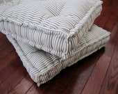 Ticking Floor Pillow, Tufted Floor Cushion with French Mattress Quilting, Stuffed 24x24x4 Floor Pouf, Floor Seating, Custom Sizes Available