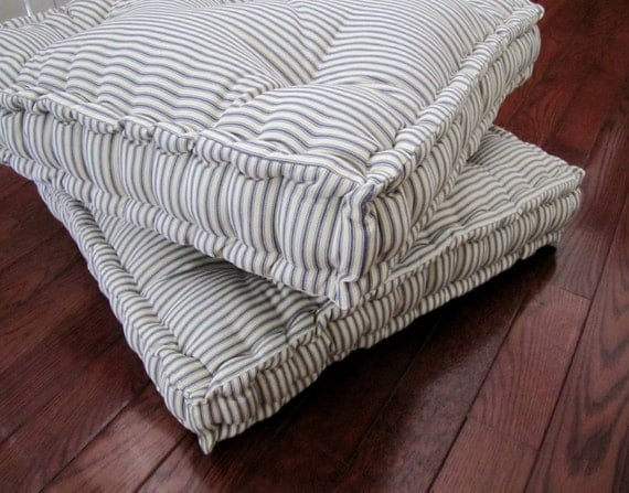 Floor Lounge Pillows : Ticking Floor Pillow Tufted Floor Cushion with French