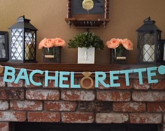 Bachelorette Glitter Banner, Glitter Bachelorette Party Banner, Bachelorette Party Banner, Mint and Gold Bridal Banner