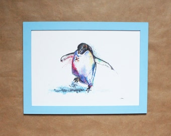 Watercolour Penguin Print  ~ penguin print, penguin art, penguin watercolour, penguin painting, wall art, animal print