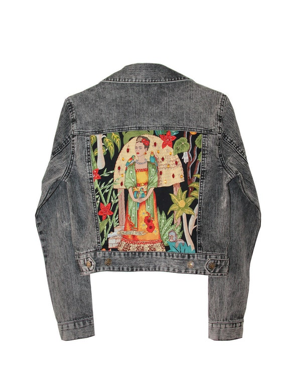 Items Similar To Gray Denim Jacket Frida Kahlo Embellished