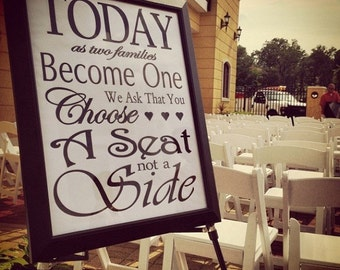 INSTANT DOWNLOAD: Printable Choose a Seat Not a Side Sign -- Great Seating Sign for your Wedding