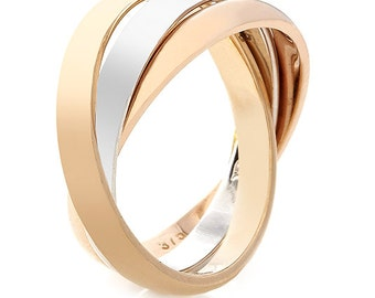 9kt White, Rose And Yellow Gold Three Ring Band 9G47