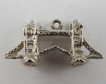 Tower Bridge London England Sterling Silver Vintage Charm For Bracelet