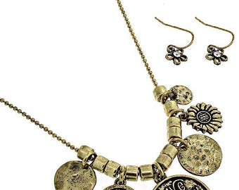 Live a Happy Life Necklace & Earring Set