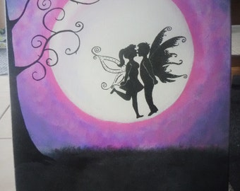 16 x 20 Original Acrylic Painting - Kissing Fairies - One of a Kind