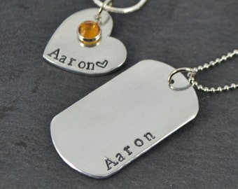 Personalised Handstamped Name Necklace, Heart, Dog Tag,  Birthstone Necklace, Gift for Him, Gift for Her, Bridesmaid Necklace
