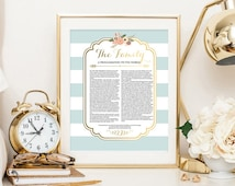 LDS Family Proclamation to the World Blue Floral Digital Printable Design