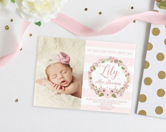 Pink Floral Baby Girl Birth Announcement Card