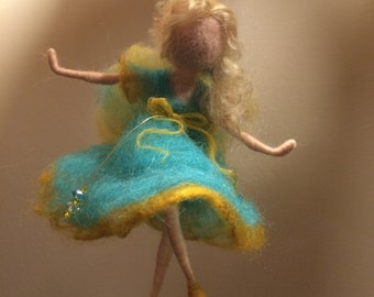 Needle felted fairy, Waldorf inspired, Dancer doll, Fairy, Green dress,  Turquoise,Home decor, Art doll, Gift, Needle wool doll