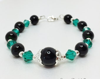 Black and Teal Bracelet Crystal Jewellery Black Pearl Bracelet Wedding Jewelry Bridesmaid Gift Teal Crystal Bracelet Winter Wedding