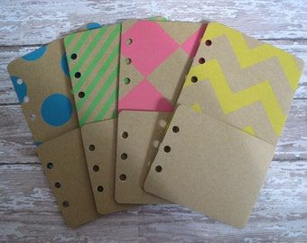 SALE!!!  Folder Pocket Pouch for Personal Size Planner Fluorescent Neon Pink Green Blue Yellow