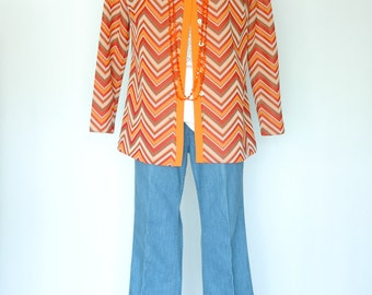 Graff Californiawear Chevron Polyester Cardigan with Gold Buttons