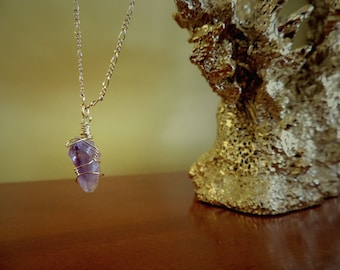 Raw Amethyst Necklace - Wire-wrapped Gold Chain