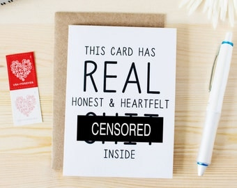 This Card Has Real Honest And Heartfelt Sh*t - Funny Valentine's Day Card. Funny Anniversary Card. Funny Love Card. Funny Honest Card.