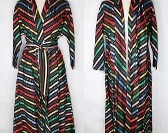 Vintage 1940/1950's Maxan Jacket Robe Dress, Electic Red, Yellow,Blue, Green Striped Ribbon Taffeta Swing Coat Mid-Century Rockabilly Small