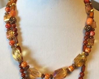 Fall Harvest 2 Strand Necklace / Bracelet Set