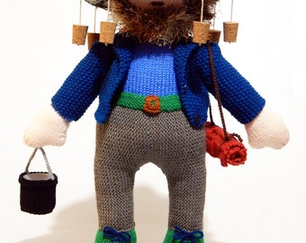 SWAGMAN SAM, hand knitted swagman, hand knitted toy, country character, handknitted toy, knitted soft toy, country knitted toy, swagman