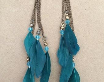 Blue Gypsy Feather Earrings