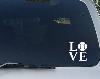 Love Baseball Decal, Baseball Stickers, Softball Decal, Softball Stickers, Baseball Name Decal, Car Decal, Car Stickers, Car Window Decal