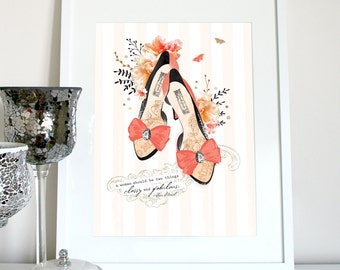 Classy & fabulous Chanel quote, Chanel quote, chanel print, chanel quote print, Coco Chanel saying, chanel print, heel print, Stiletto print