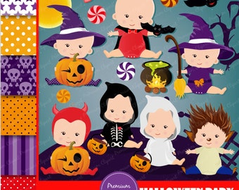 Halloween baby clipart, Halloween clipart, Halloween babies clipart, Halloween pumpkin clipart, Halloween baby clipart - CL118