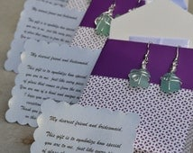 Bridesmaid Gift Package - Aqua sea glass earrings wrapped in silver wire with poem and gift bag