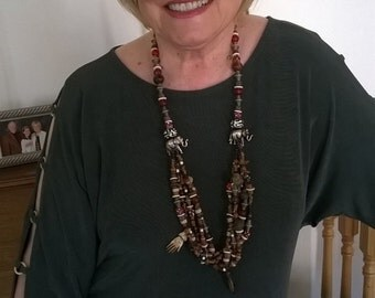 Rare Beaded Multi Strand Necklace - Out Of Africa