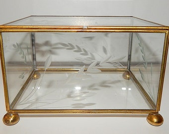 Large Vintage Floral Design ETCHED GLASS & Brass Jewelry Box // Display Case // Flowers // Clear Footed Vanity Box
