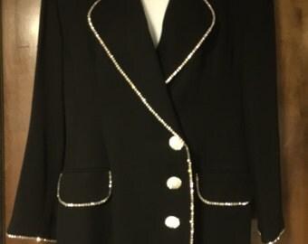 Dynasty!!! Vintage Cache Double breasted Rhinestone Blazer 10